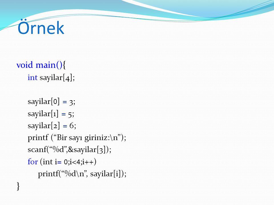 Örnek void main(){ } int sayilar[4]; sayilar[0] = 3; sayilar[1] = 5;